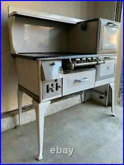 Charming Antique Occidental Gas Enameled Cast Iron Stove, Excellent Condition