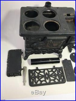 Crescent Cast Iron Stove Small Toy Vintage Antique Black