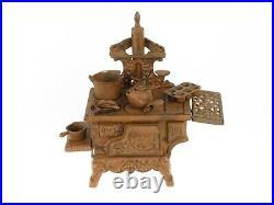 Crescent Cast Iron Wood Stove Vintage Salesman Sample Miniature Toy Accessories