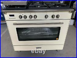 Delonghi Vintage 90cm Dual Fuel Oven Stove Gas Cooktop Freestanding DEFV908CR