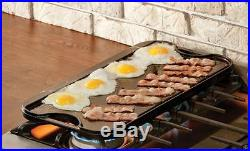 Double Burner Griddle Stove Reversible Cast Iron Grilling Preseasoned Plates Top