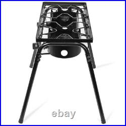 Double Stove Burner Propane Gas Stove Outdoor Camp BBQ Cooker Leg Detachable