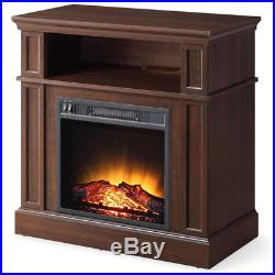Electric Fireplace Heater TV Stand Realistic Mantel Stove Log Flame Bedroom Wood