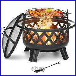 Fire Pit Firepit Outdoor Brazier Garden BBQ Round Stove Patio Heater C