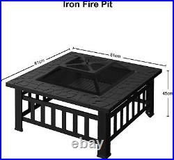 Fire Pit Firepit Outdoor Brazier Garden BBQ Square Table Stove Patio Heater A