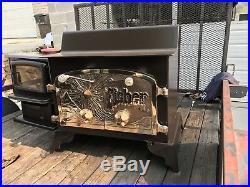 Fisher Wood Burning Stove Ultra Rare XL model BEAUTIFUL BRASS DOORS