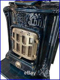 French Cast Iron & Porcelain Stove Beautiful Cobalt Blue, 19th Century