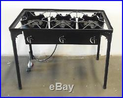 HD Triple Burner Cast Iron Outdoor Stove Canning Beer Brewing with Regulator