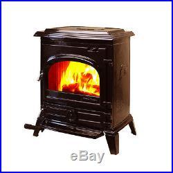 HiFlame EPA-approved Small Cast Iron Wood Burning Stove HF517U Enamel Brown