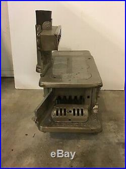 J & E Stevens Very Ornate Nickel-plated Cast Iron Rival Child's Stove C. 1895