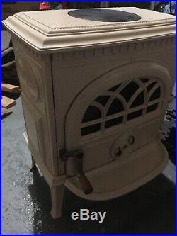 Jotul 3 Wood Stove cast iron with ivory porcelain enamel finish