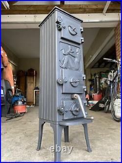 Jotul 501 Classic Cast Iron Multifuel Burning Stove Black 5 Rear Flue Exit
