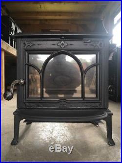 Jotul F100 Classic Cast Iron Wood Burning Stove Black Finish Top Flue Exit #44
