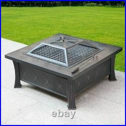 Large Cast Iron Square Fire Pit Garden Bbq Stove Brazier Patio Heater Black