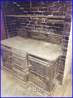 Massive 1870s Circa James Spears Cast Iron Double Cooking Range Philadelphia PA