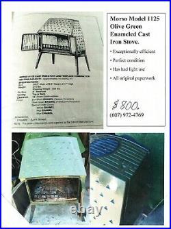 Morso Model 1125 Olive Green Enameled Cast Iron Stove