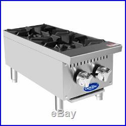 NEW 12 2 Burner Hot Plate Cast Iron Grates Counter Range Atosa ATHP-12-2 #2546