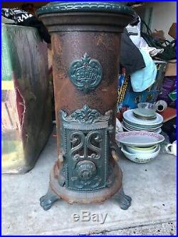 Old Antique Are Nouveau French Enamel Godin Cast Iron Soild Fuel Woodstove Fire
