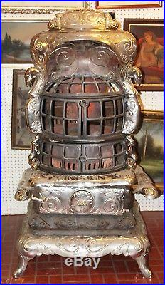 Old Antique LINCOLN Model #38 Nickel Plated Cast Iron Wood Coal PARLOR STOVE