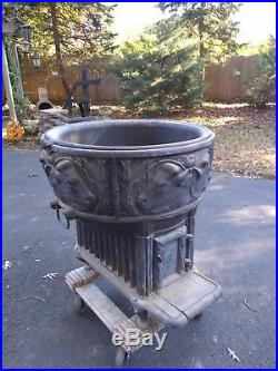 Old or Antique Cast Iron Butcher Stove Kenwood Wehrle with Cow Kettle
