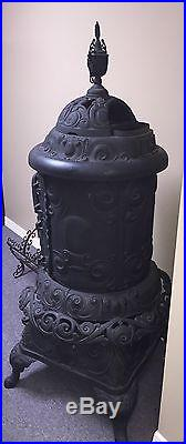 Ornate Cast Iron Pot Belly Parlor Stove, Detroit Stove Works, Prince Oak Jewel