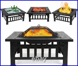 Outdoor Fire Pit BBQ Firepit Brazier Garden Square Table Stove Patio Heater