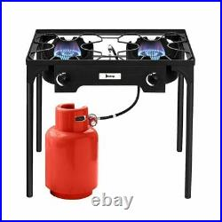 Outdoor Stove Portable Propane Gas Cooker Iron Cast Patio Double Burner for Camp