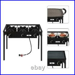 Portable Propane 225000 BTU Gas Triple 3 Burner Outdoor Camping Stove Cooker BBQ