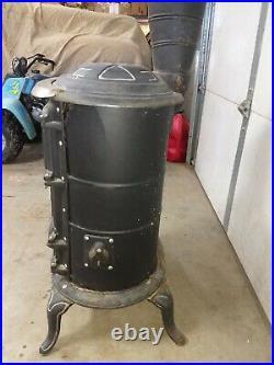 Pot belly stove wood parlor cast iron cabin decor LOOK antique vintage