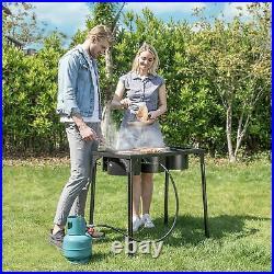 Professional Outdoor 225000 BTU Stove Propane 3 Burner Portable Cooker BBQ Grill