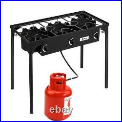 Professional Outdoor Stove Propane Burner Portable 3 Cooker Camping BBQ Grill