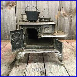RARE 1890s COTTON PLANT Cast Iron STOVE Salesman Sample Abendroth Bros X-FANCY