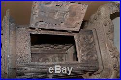 RARE ANTIQUE 1849 CAST IRON WOOD STOVE CLARK KEENEY & CO. TROY, NY No. 4 WAVERLY