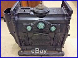 RARE Antique CULTER & PROCTOR Cast Iron Wood Parlor Stove No. 19 Porcelain Tiles