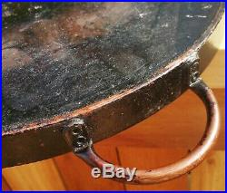 ROUND antique cast iron griddle vtg wood stove kitchen camping bacon frying pan