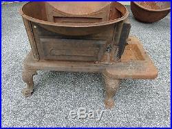 Rare Antique 19th. C Cast Iron Stove & Cauldron, Kettle, Fat Rendering, Steampunk