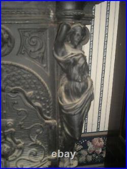 Rare Antique Art Nouveau cast iron parlor stove for repair or restoration