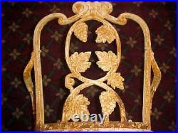 Rare Antique Atlanta Stove Works Grape & Leaf Cast Iron 2 Arm Chairs 20 Century