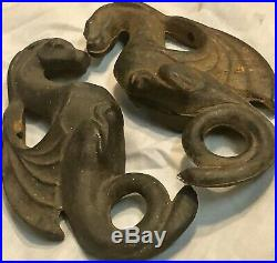Rare Antique Cast Iron Dragon Ornate Handles From A Parlor Stove