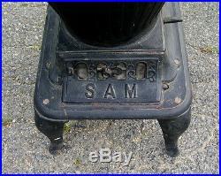Rare Antique Cast Iron Klein Co. Sam Parlor R/r Laundry Cook Stove