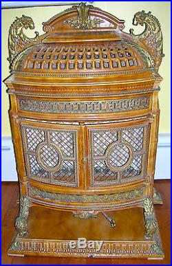 Rare Antique French Enameled Gas Parlor Stove With Bronze/brass Mounts & Trim