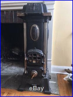 Rare German Antique Store Munich 1890s Parlor Coal Stove Cast Iron Swoboda