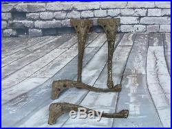 Set Of 4 Antique Victorian Cast Iron Claw Foot Stove/Table Legs w Goddess Tops