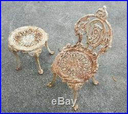 Set of Antique Garden Cast Iron Chairs with Tables by Atlanta Stove Works