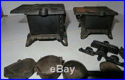 Two Queen Cast Iron Toy Stove Salesmen Sample Miniatures Set Large LOT Pots Pans