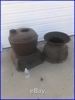 US Cannon Heater #20 Wood/Coal Potbelly Stove Cast Iron 51 inches Tall RARE