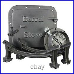 US Stove Barrel Camp Stove Kit Water Heater Heavy Duty Hunt Fish Camp Outdoor
