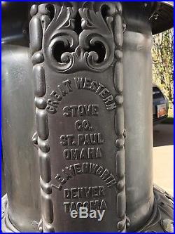 Unique Antique Cast Iron & Nickel Silver Wood/Coal Parlor Stove restored
