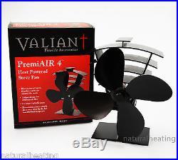 VALIANT Premium PremiAir 4 Blade Heat Powered Stove Fan FIR361 moves 420cfm air