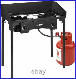 VIVOHOME Double Burner Grill Gas Propane Cooker Outdoor Camping Picnic Stove BBQ